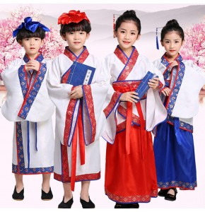 Hanfu chinese folk dance costumes for kids boys girls kimono cosplay dress school stage performance drama cosplay dresses