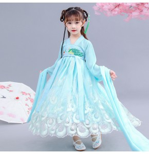 Hanfu Girls blue chinese folk dance costumes fiary cosplay dress kids children ancient traditional stage performance dress