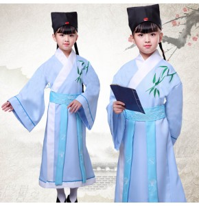 Hanfu traditional Chinese folk dance costumes for boys girls Confucius school uniforms performance dresses