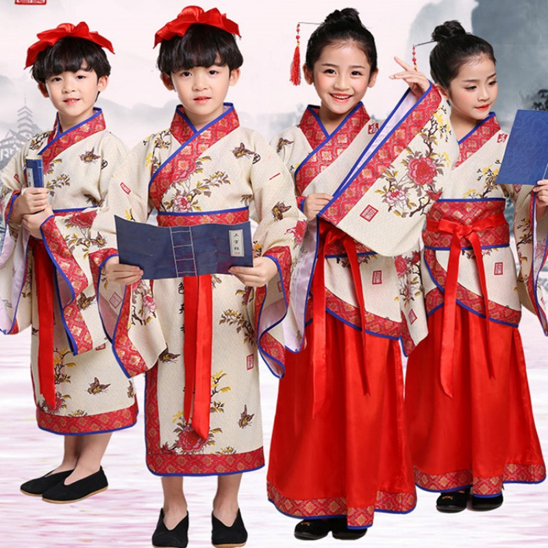 Hanfu traditional Chinese folk dance costumes for boys girls  kids Confucius school uniforms drama stage performance robes dress