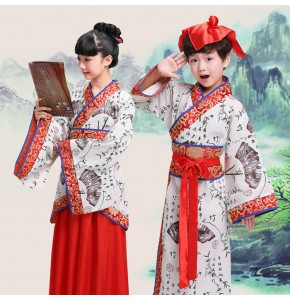 Hanfu traditional Chinese folk dance costumes for kids boys girls Confucius school stage performance drama cosplay dresses