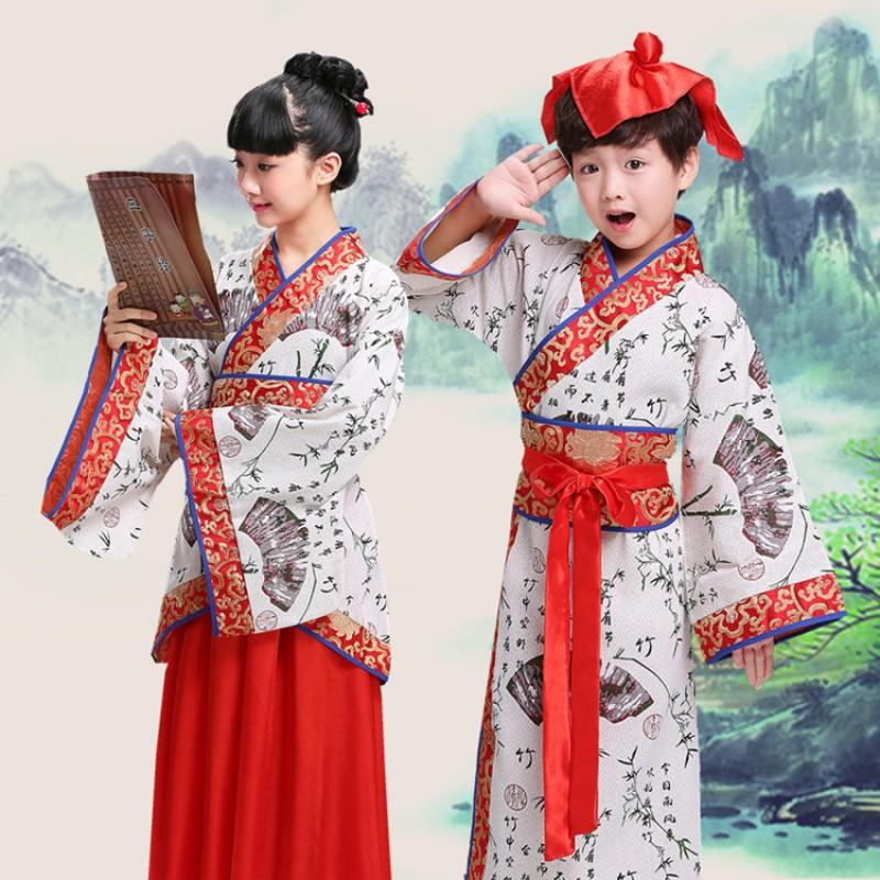 9fc5aa70e Hanfu traditional Chinese folk dance costumes for kids boys girls ...