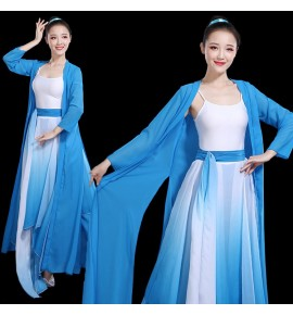 Hanfu women's female chinese folk dance dress blue colored ancient traditional classical dance dresses fairy umbrella dresse