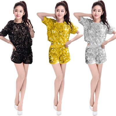 hiphop jazz dance sequin outfits for girls cheearleaders female gold silver red black stage performance singers night club dj dancing tops and shorts
