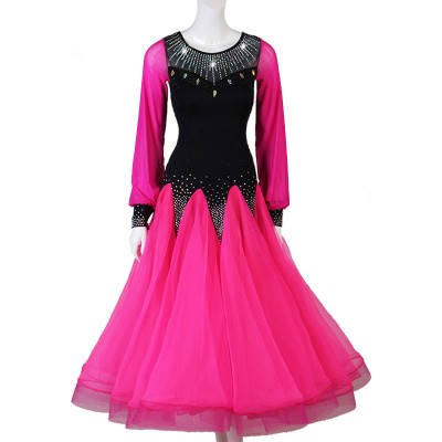 hot pink with black Ballroom dancing dresses for women girls stage performance waltz tango dance dress
