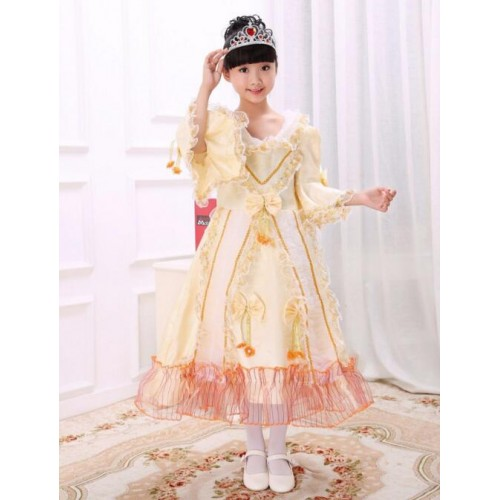 Kids girls dance princesses european court dresses fantasias stage stage performance costumes traditional russian national dress