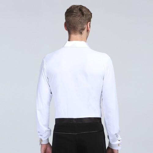 e85665a7e ... White striped Men's latin dance costume men's long sleeves spandex latin  dance Shirt for men latin ...