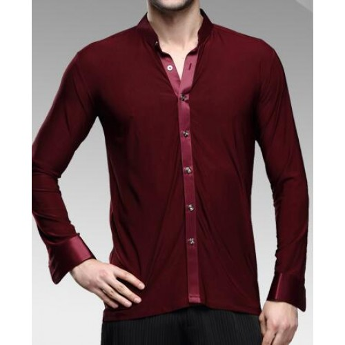 Wine red colored long sleeves stand down collar men 39 s for Wine colored mens dress shirts