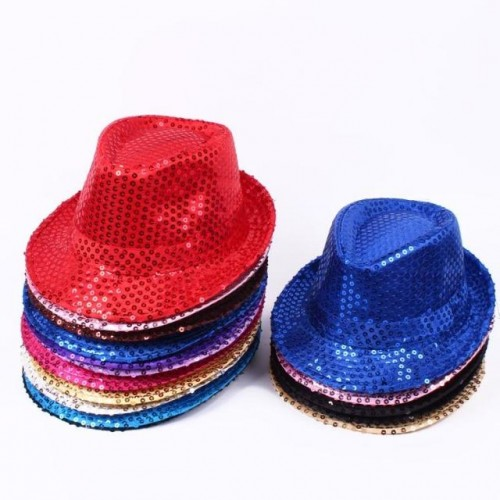 Black gold silver blue Glitter Sequin Children Hat Summer Girls/Boys Performing Jazz Hat Dance Stage Nursery Kids Cap