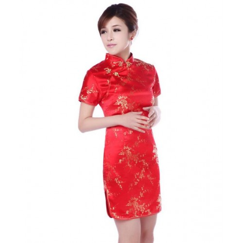 ladies Chinese dresses short sleeve red cheongsam qipao dresses Cheongsam vestidos party Evening Dress Chinese traditional dress