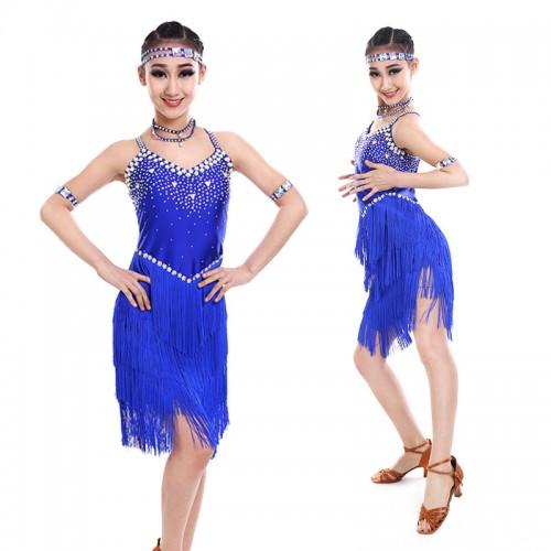 92923e414 ... Girls latin dance dresses children kids blue black white red  competition stage performance fringes diamond latin ...