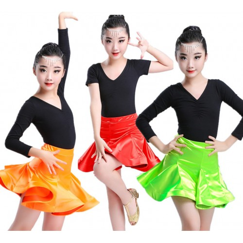 Competition latin dresses for girls kids children red neon green stage performance ballroom salsa chacha outfits