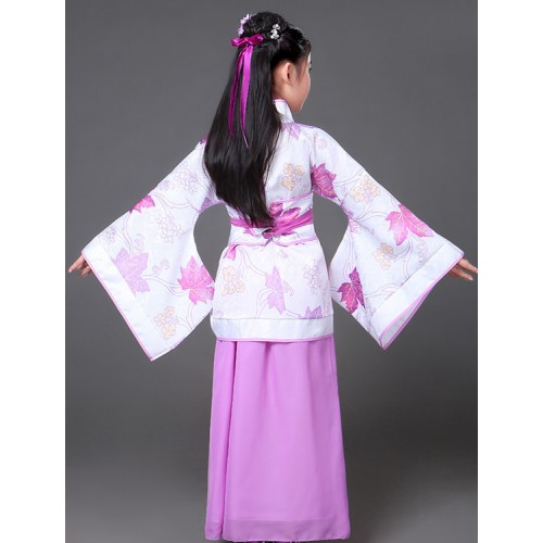 Kids traditional chinese folk dance costumes for girls korean hanfu kimono anime cosplay performance robes dresses