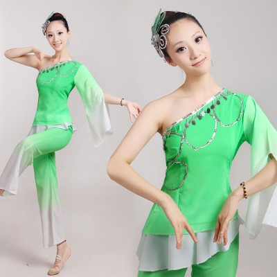 Ancient Traditional Jasmine Embroidey Kids And Women Chinese Folk Dance Costume / Chinese Fan Dance costumes