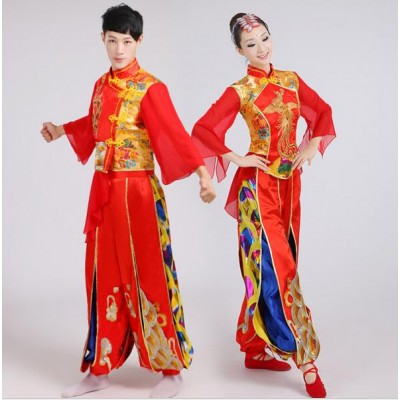 Ancient Traditional red gold royal blue Embroidery men And Women Chinese Folk Dance Costume