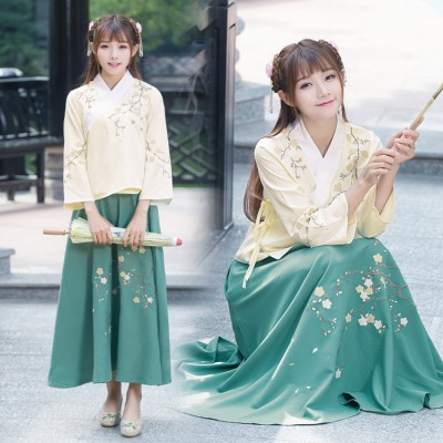 Beige with green patchwork Women's girl's Chinese ancient classical traditional Han fairy kimono cosplay performance  folk dance dresses