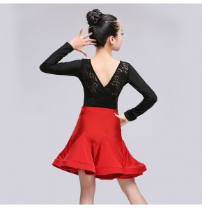 Black and red and lace patchwork fashion girls kids children gymnastics latin ballroom salsa danace leotard tops and skirts dresses