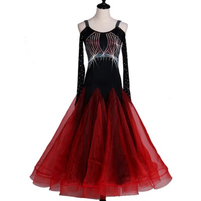 Black and red patchwork long sleeves dew shoulder diamond competition professional women's female ballroom tango waltz dancing dresses