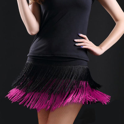 Black and red royal blue green fuchsia fringes competition performance women's girl's latin salsa cha cha dance skirts