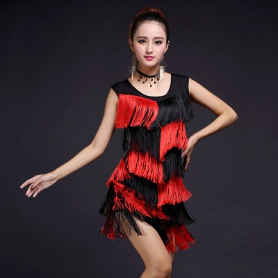 black and red royal blue purple fuchsia Women Dance Clothes Salsa Costume Ballroom Competition Latin Fringes tassels Dresses for Girls