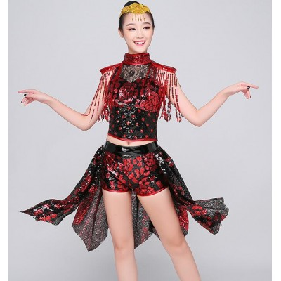 black and red sequined paillette fringes women's girl's photos model modern dance jazz singers dancers hiphop dancing outfits costumes