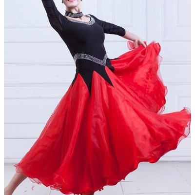 Black and reds stones competition ballroom dresses women's female stage performance flamenco dancing dresses outfits