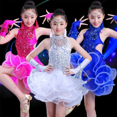 Black and white patchwork rhinestones competition girls kids children latin dance dresses