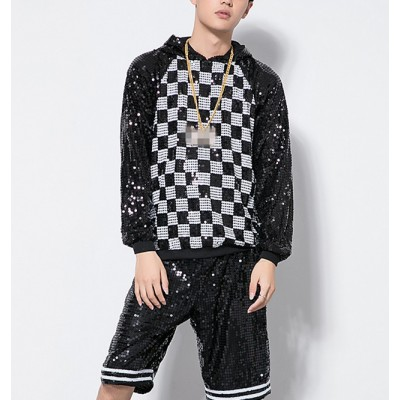 Black and white plaid modern dance hiphop men'e male competition stage performance jazz singers dancers outfits