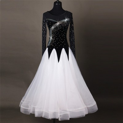 Black and white stones  female women stage Competition Performance Waltz Dance Dresses For Ballroom Dancing Standard Dresses