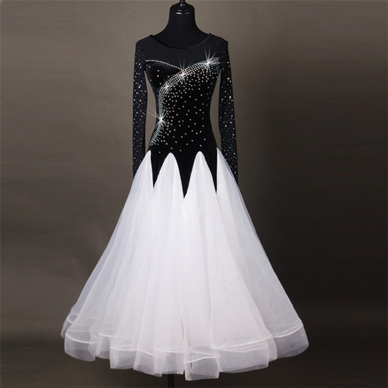 5f101b04d574 Black and white stones female women stage Competition Performance Waltz  Dance Dresses For Ballroom Dancing Standard