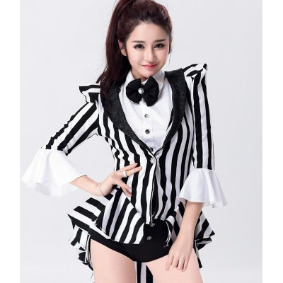 Black and white striped women's girl's singers dancers night club bar magician cosplay jazz  dance tuxedo tops and shorts costumes