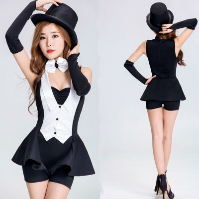Black and white women Jazz dance costume maid uniform nightclub female singer magician dance costume DS dance costumes outfits