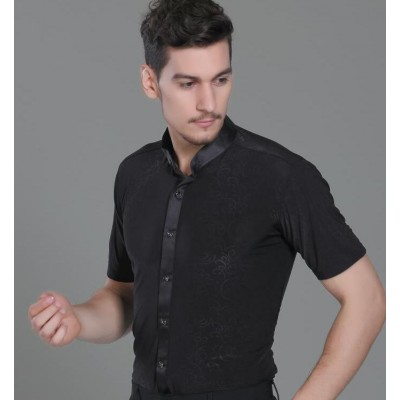 Black down collar short sleeves men's male competition performance latin ballroom dance tops shirts