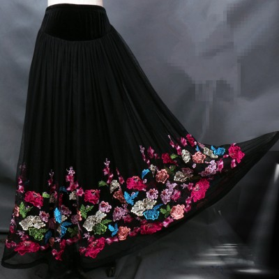 Black embroidery pattern long length competition performance professional flamenco ballroom dance skirts