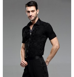 Black flowers short sleeves Waltz Latin Dance Top Men Latin Dance Shirts Men Ballroom Dance Shirts