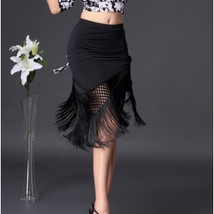Black fringes mesh patchwork irregular hem women's girl's performance salsa chacha latin dance skirts