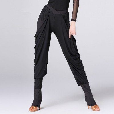 Black fringes spandex long length women's female chiffon competition gymnastics performance latin ballroom leggings dance pants