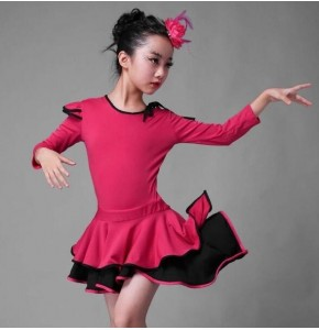 Black fuchsia girls latin dresses kids children stage performance competition rumba salsa dancing outfits