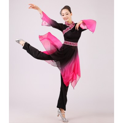 Black fuchsia gradient colored Chinese Traditional Women fan dance Dress Chinese Fairy Dress Clothing