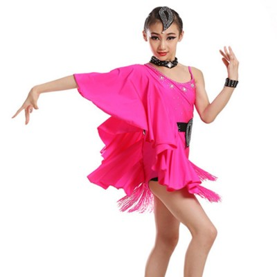 Black fuchsia neon green butterfly rhinestones girl's kids children cosplay competition performance latin salsa dance dresses