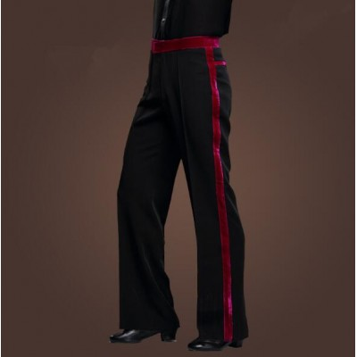 Black fuchsia New Men Latin Dance Pants Velvet Mens Ballroom Dance Pants Black/Red Rumba/Samba/Tango/Cha Cha