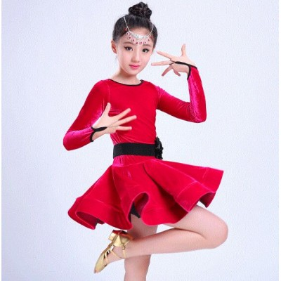 Black fuchsia orange  royal blue velvet long sleeves competition gymnastics performance girl's latin ballroom dance dresses
