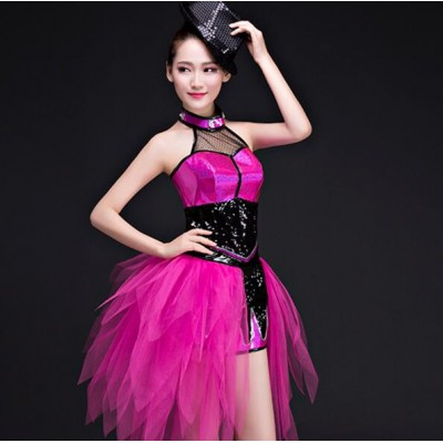 Black fuchsia patchwork sequined Nightclub tuxedo ds performance clothing bar dj sequins suit adult female modern dance jazz dance costumes