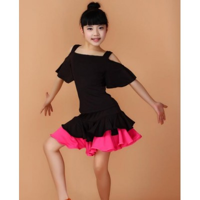 Black hot pink yellow Girls Kids Children Modern gymnastics Latin Dance Dress  Salsa Tango Dance Wear Black Performance Stage Wear Outfits