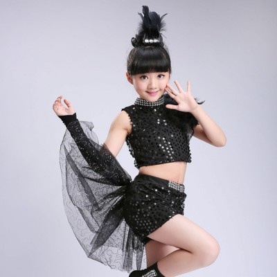 Black jazz dance costumes for girls kids children modern dance singers party show competition street performance costumes tops and skirts