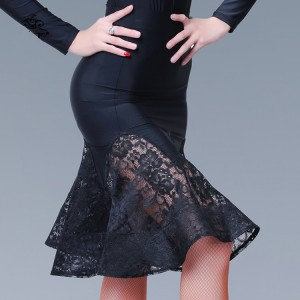 Black lace patchwork fashion women's female competition professional latin salsa cha cha dance skirts