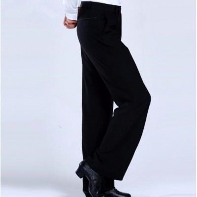 Black Latin Dance Trousers Pants Men/Boy Practice/Performance Pants For Dance Modern Dance Pants Mens Ballroom Dance Pants