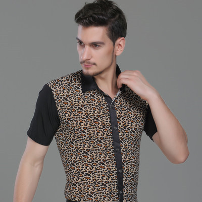 Black leopard printed short sleeves down collar men's male competition performance latin ballroom dance tops shirts