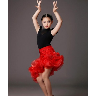 Black leotard top red  rhinestones skirt girls competition latin dance dresses outfits