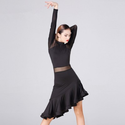 Black long sleeves tulle patchwork fashion women's female competition stage performance latin rumba salsa dance dresses